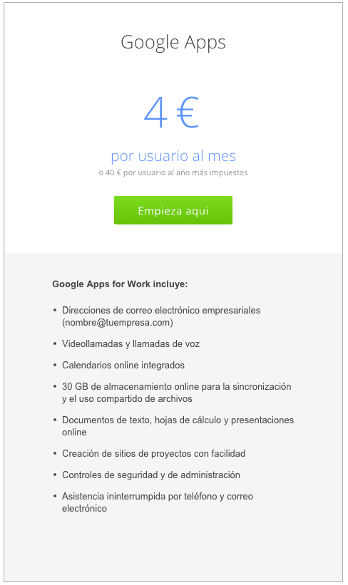 Google apps for work en malaga basico